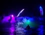 Espectáculo nocturno de luces y Surf en la playa de Patos (Nigrán, Galicia)